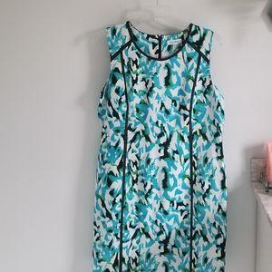 Calvin Klein linen blend blue black dress plus 16